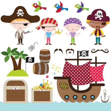 pirate flag: Pirate Elements Illustration