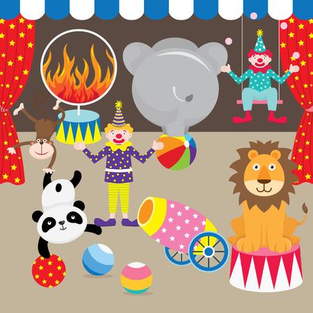 payasos caricatura: Circo Elementos Carnaval Vectores