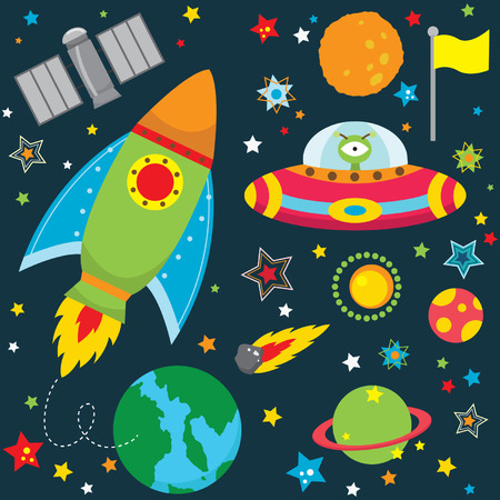 El espacio ultraterrestre elementos de diseño Vectores