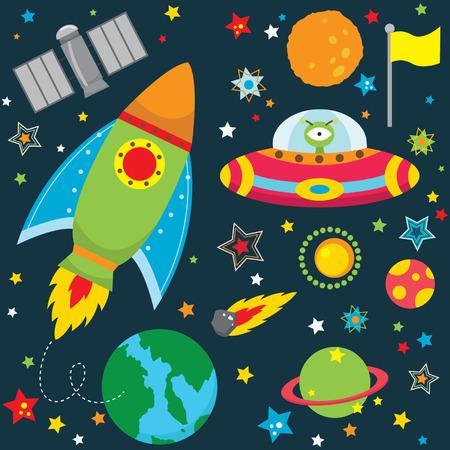 estrella caricatura: El espacio ultraterrestre elementos de dise�o Vectores