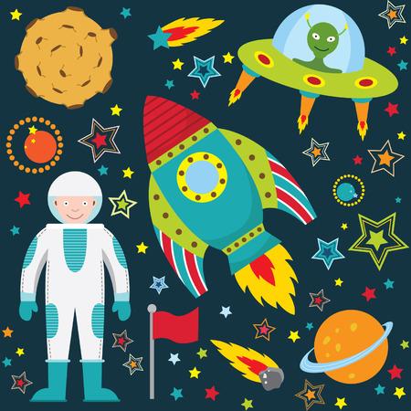 luna caricatura: Colección Espacio Exterior Set Vectores