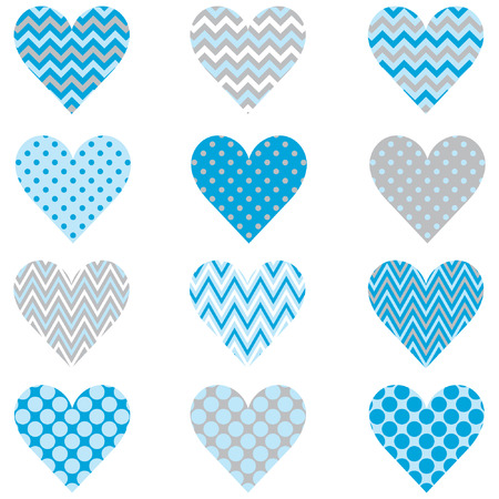 Baby Blue Heart Shape Pattern Vettoriali