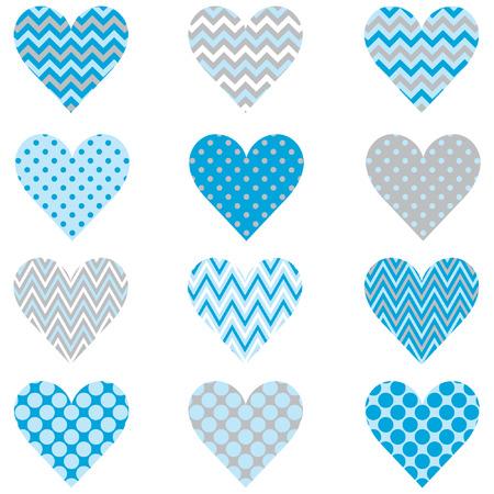 Baby Blue Heart Shape Pattern Illustration