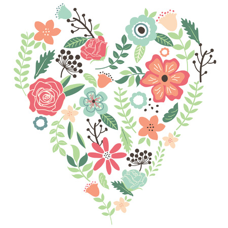 Vintage Flowers Wedding Heart Illustration