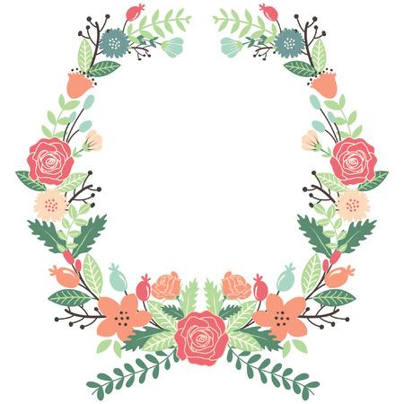 esküvő: Vintage Virág Koszorú Illusztráció
