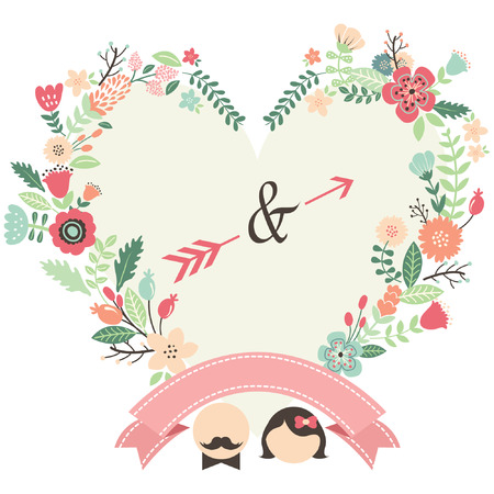 Retro Wedding Wreath Frame