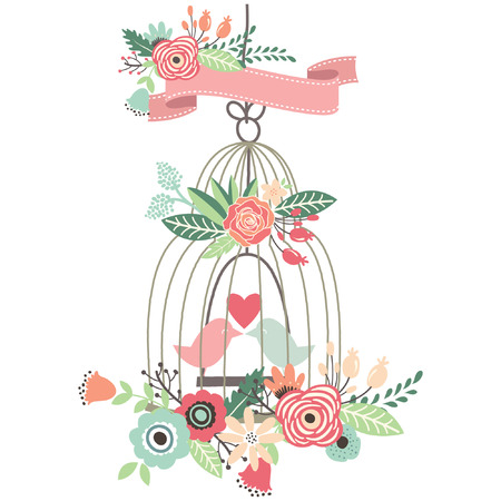 Vintage Wedding Floral Birdcage Stock Illustratie