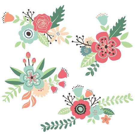 手描きヴィンテージ花柄セット  イラスト・ベクター素材