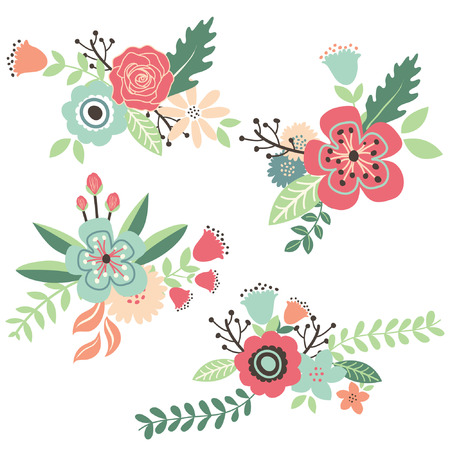formal garden: Hand Draw Vintage Floral Set