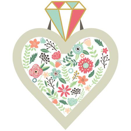 diamond clip art: Vintage Flower Diamond Ring