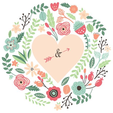 Vintage Wedding Flora Heart Shape