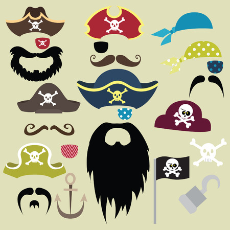 pirate cartoon: Set of Pirates Elements