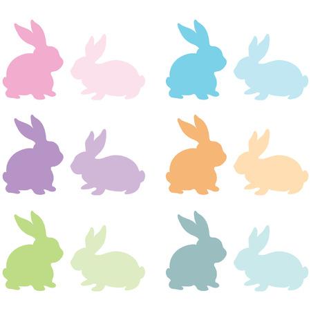 カラフルなウサギのシルエット