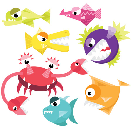 devil fish: Cute Fish Monster Collection Set