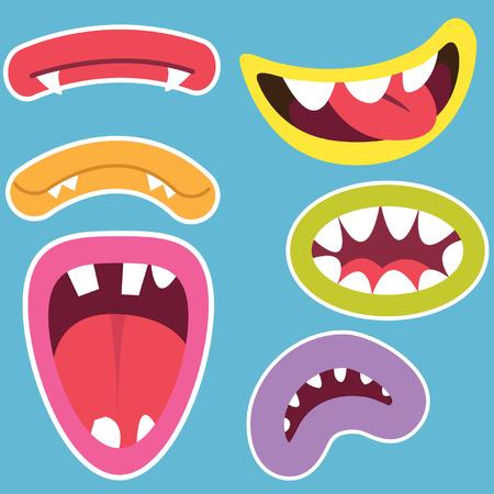 Leuke Monsters Monden Set Stock Illustratie