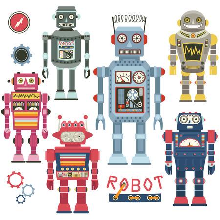 retro robot: Retro Robot Set Illustration
