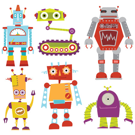 robot cartoon: Robot Set Illustration