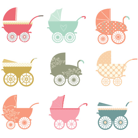 baby girls: Baby Stroller Elements Illustration