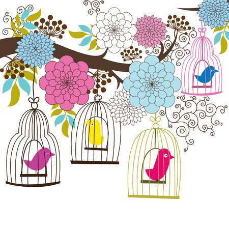 part prison: Retro Wedding Floral and Birdcage Illustration