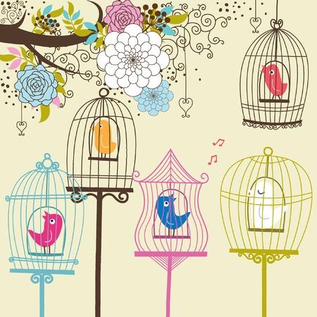 birdcage: Vintage Flowers and Birdcage Illustration