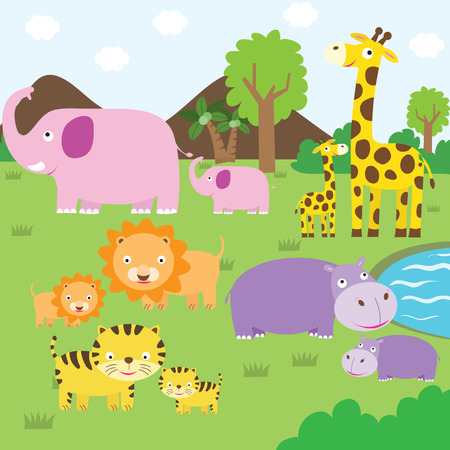 vector cartoons: Cute Animal Safari