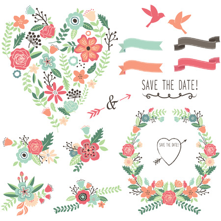 Vintage Flowers Wedding Heart Elements Stock Illustratie