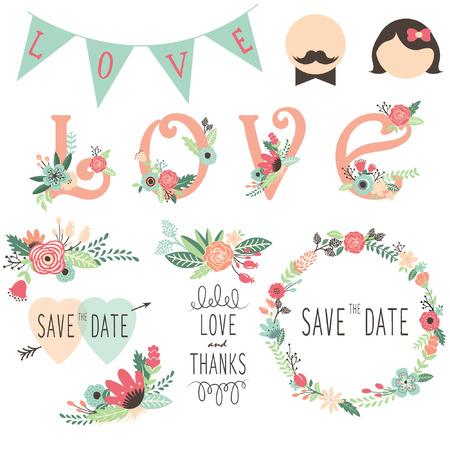 結婚式フローラ招待状デザイン要素のセット  イラスト・ベクター素材