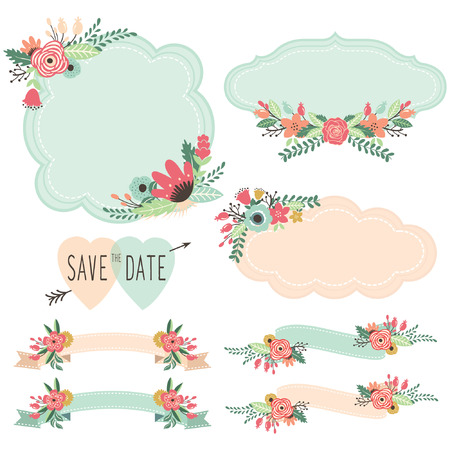Vintage Flowers Frames and Banners Set Vectores