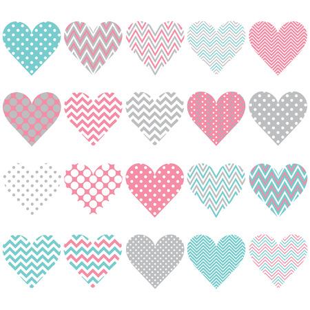 silhouette coeur: Coeur Pattern Set Illustration