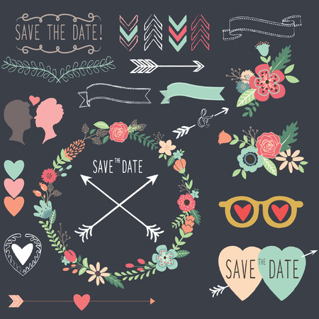 Krijtbord Retro Wedding design elementen Stock Illustratie