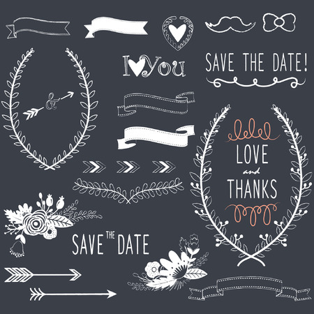 Krijtbord Wedding design elementen Stock Illustratie