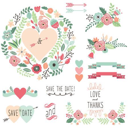 Vintage Wedding Flora design element Vectores