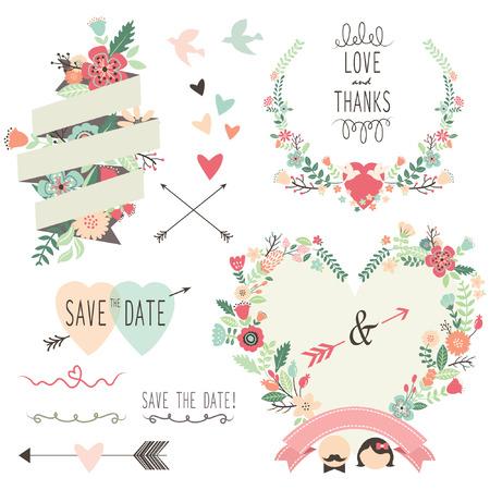copy sapce: Vintage Flowers Wedding invitation design elements