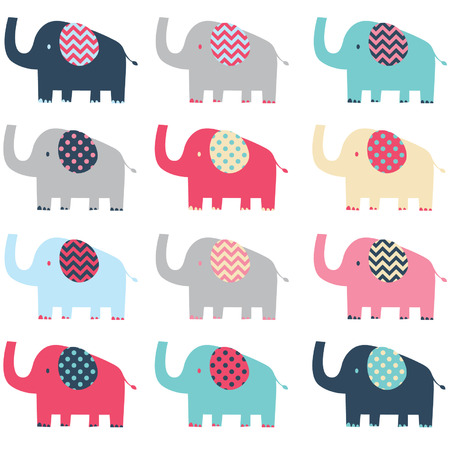 Retro Cute Elephant pattern Ilustracja