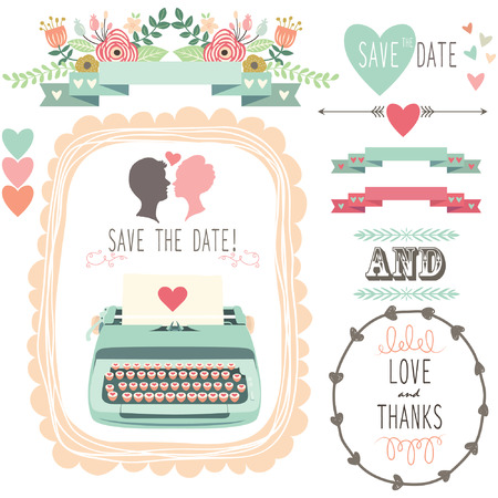 Bruiloft Vintage Typewriter Stock Illustratie