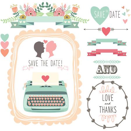 Wedding Vintage Typewriter Vectores