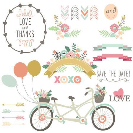 c�r�monie mariage: Mariage Flora Vintage Bicycles Elements Illustration