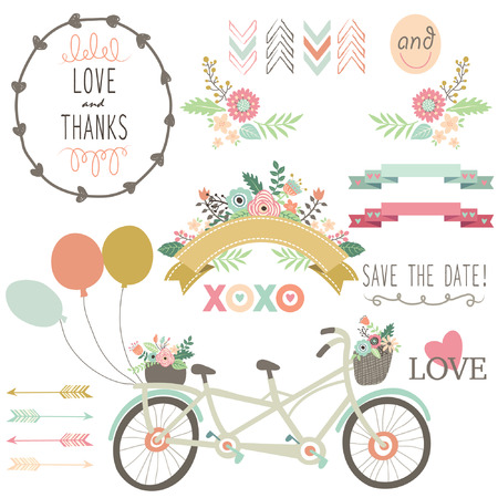 wedding card design: Wedding Flora Vintage Bicycles Elements Illustration