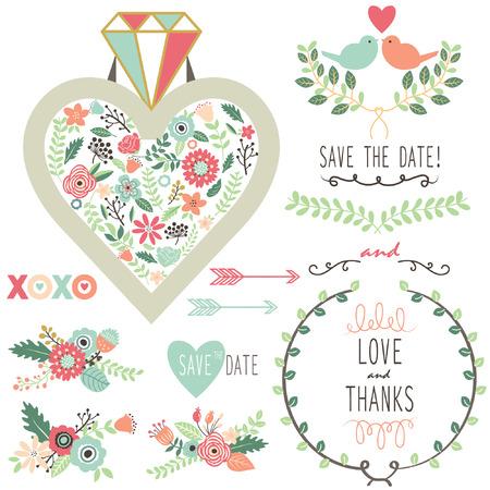 식물상: 결혼식 빈티지 플로라 다이아몬드 요소
