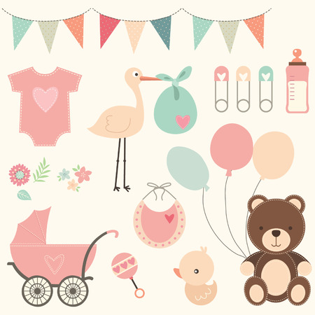 cute baby girls: Baby Shower Set Illustration