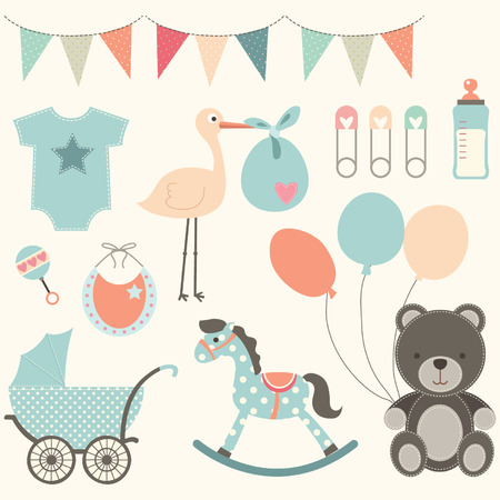 bebes ni�as: Elementos Baby Shower Vectores