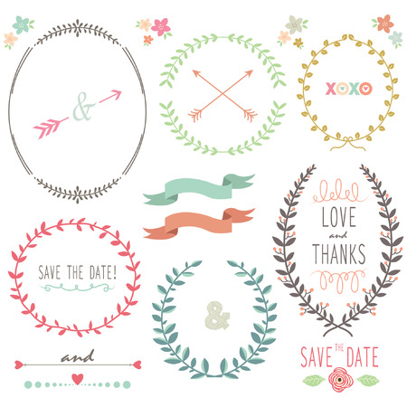 wreath collection: Laurel Wreath Wedding Illustration