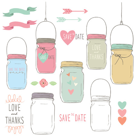 hanging: Hand Draw Wedding Mason Jar