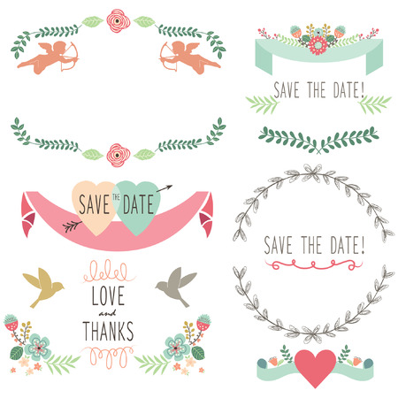 retro revival: Wedding Flora Vintage Laurel Wreath Elements Illustration