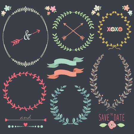 Chalkboard Laurel Wreath Wedding design elements