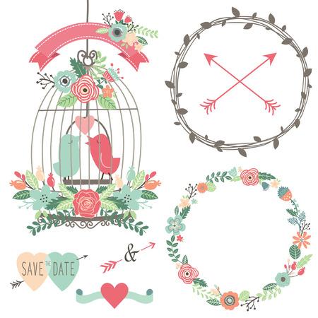ビンテージのウェディングの花と鳥かご