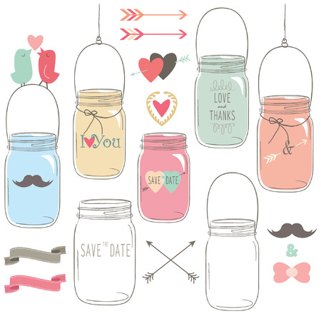 jars: Hand Draw Wedding Mason Jar