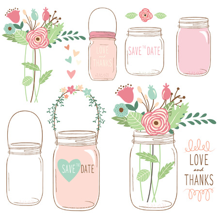 Hand Draw Wedding flower Mason Jar