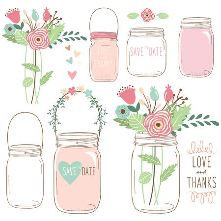 Ręcznie narysować kwiat Mason Jar ślubna