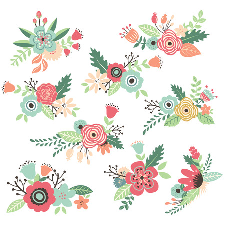 Vintage Hand Drawn Flowers Set